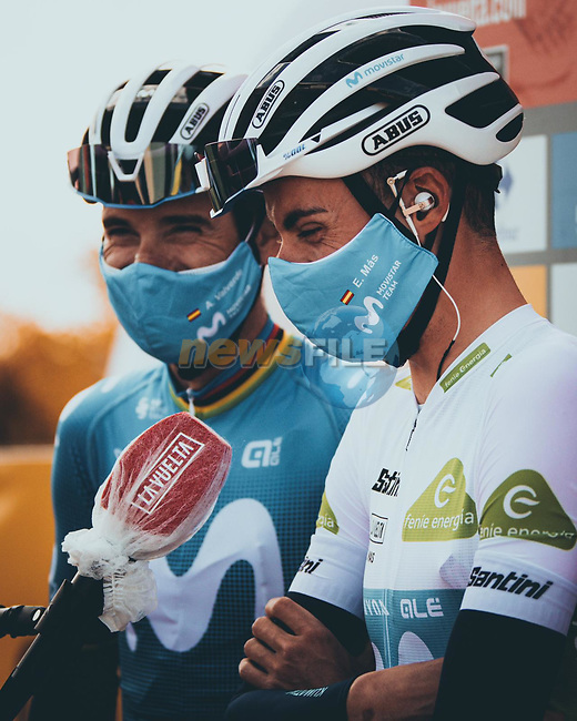 Most aggressive rider from yesterday's stage Alejandro Valverde and team mate White Jersey Enric Mas (ESP) Movistar Team at sign on before the start of Stage 8 of the Vuelta Espana 2020 running 160km from Logroño to Alto de Moncalvillo, Spain. 28th October 2020. <br /> Picture: Unipublic/BaixauliStudio | Cyclefile<br /> <br /> All photos usage must carry mandatory copyright credit (© Cyclefile | Unipublic/BaixauliStudio)