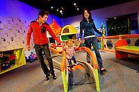 Charlotte, NC on-location photography of Discovery Place, Charlotte's hands-on science museum located in downtown Charlotte NC. In this image, children explore and play in the KidScience exhibition, Discovery Place's early childhood science center for kids 0-7.