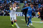 Getafe CF's Mauro Arambarri and Valencia CF's Daniel Wass during La Liga match between Getafe CF and Valencia CF at Coliseum Alfonso Perez in Getafe, Spain. November 10, 2018.