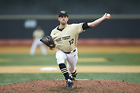 Wake Forest Demon Deacons relief pitcher Tyler Witt (12) in action against the Miami Hurricanes at David F. Couch Ballpark on May 11, 2019 in  Winston-Salem, North Carolina. The Hurricanes defeated the Demon Deacons 8-4. (Brian Westerholt/Four Seam Images)