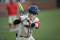 Benjamin Blackwell (3) of the Dayton Flyers at bat against the Campbell Camels at Jim Perry Stadium on February 28, 2021 in Buies Creek, North Carolina. The Camels defeated the Flyers 11-2. (Brian Westerholt/Four Seam Images)