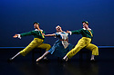 London, UK. 14.02.20. Elmhurst Ballet Company, the graduate company from Elmhurst Ballet School, perform in the dress rehearsal of 'Synergy' at the Lilian Baylis Studio, Sadler's Wells. The piece shown is: Tweedledum and Tweedledee, choreographed by Sir Frederick Ashton. The dancers are: Jennifer Beattie (Alice), Joshua Dart and Jakob Myers (Tweedledum and Tweedledee). Photograph © Jane Hobson.
