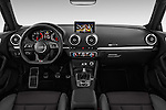 Stock photo of straight dashboard view of 2017 Audi A3 Sport 3 Door Hatchback Dashboard