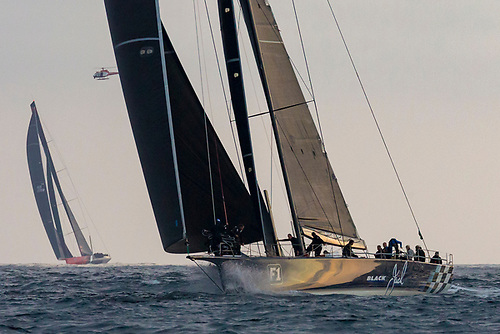 Black Jack leads Comanche as they close in on the 2018 Rolex Sydney Hobart finish line