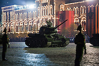 Moscow, Russia, 04/05/2010..World War Two era Russian T-34 tanks at a night time rehearsal in Red Square for the forthcoming May 9 Victory Day parade, scheduled to be the largest for many years.