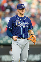 Evan Longoria (3) of the Tampa Bay Rays warms up prior to the game against the Detroit Tigers at Comerica Park on June 4, 2013 in Detroit, Michigan.  The Tigers defeated the Rays 10-1.  Brian Westerholt/Four Seam Images