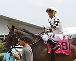 May 16, 2015: Watsdachances (IRE) with Javier Castellano wins the Grade III Gallorette Handicap, for fillies & mares, 3-year olds & up, going 1 1/16 mile on the turf at Pimlico Racetrack. Trainer:  Chad C Brown. Owner: Michael Kisber, Nelson McMakin & Bradley Thoroughbred. Sue Kawczynski/ESW/CSM