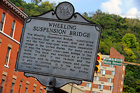 Historical marker for the Wheeling Suspension Bridge
