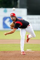 Batavia Muckdogs pitcher Patrick Daugherty #39 during the second game of a doubleheader against the Williamsport Crosscutters at Dwyer Stadium on August 23, 2011 in Batavia, New York.  Batavia defeated Williamsport 2-1.  (Mike Janes/Four Seam Images)