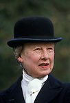 Fox hunting. Duke of Beaufort, woman wears a traditional bowler  hat and veil England. 1980s UK