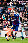 Jordi Alba of FC Barcelona (L) in action against Maxi Gomez of RC Celta de Vigo (R) during the La Liga 2017-18 match between FC Barcelona and RC Celta de Vigo at Camp Nou Stadium on 02 December 2017 in Barcelona, Spain. Photo by Vicens Gimenez / Power Sport Images