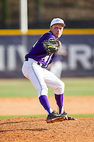 High Point Panthers relief pitcher Jeremy Johnson (14) in action against the Coastal Carolina Chanticleers at Willard Stadium on March 15, 2014 in High Point, North Carolina.  The Chanticleers defeated the Panthers 1-0 in the first game of a double-header.  (Brian Westerholt/Four Seam Images)