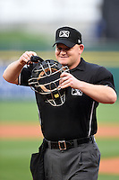 Home plate umpire Jonathan Bailey during a Buffalo Bisons game Gwinnett Braves on May 13, 2014 at Coca-Cola Field in Buffalo, New  York.  Gwinnett defeated Buffalo 3-2.  (Mike Janes/Four Seam Images)