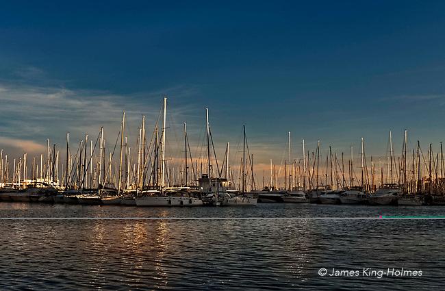 Boats moored in the marina of the Real Club Nautico de Palma Marina (Royal Nautical Yacht Club), Palma de Mallorca