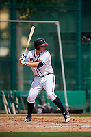 GCL Braves first baseman Mason Berne (56) at bat during the first game of a doubleheader against the GCL Yankees West on July 30, 2018 at Champion Stadium in Kissimmee, Florida.  GCL Yankees West defeated GCL Braves 7-5.  (Mike Janes/Four Seam Images)