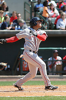 Greenville Drive outfielder Jesus Loya #17 at bat during a game against the Charleston RiverDogs at Joseph P. Riley Jr. Ballpark  on April 9, 2014 in Charleston, South Carolina. Greenville defeated Charleston 6-3. (Robert Gurganus/Four Seam Images)