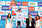 Federico Zurlo (ITA) United Healthcare wears the Turkish Beauties Jersey at the end of Stage 1 of the 2015 Presidential Tour of Turkey running 182km from Alanya to Alanya. 26th April 2015.<br /> Photo: Tour of Turkey/Stiehl Photography/Mario Stiehl/www.newsfile.ie