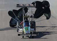 Feb. 23, 2013; Chandler, AZ, USA; NHRA top fuel dragster driver Terry McMillen during qualifying for the Arizona Nationals at Firebird International Raceway. Mandatory Credit: Mark J. Rebilas-