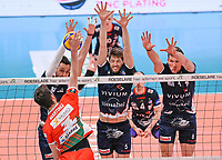Belgian Hendrik Tuerlinckx of Roeselare ,  Belgian Pieter Coolman of Roeselare and Belgian Matthijs Verhanneman of Roeselare  pictured blocking an attempt during a Volleyball game between Knack Volley Roeselare and Greenyard Maaseik , the third game in a best of five in the play offs in the 2020-2021 season , saturday 10 th April 2020 at the Schiervelde international Sportshall in Roeselare  , Belgium  .  PHOTO SPORTPIX.BE   DAVID CATRY