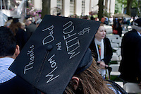 "3 June 2011, Cambridge, MA - MIT Commencement..The top of a mortar board cap on a graduating student reads ""Thanks Mom and Dad and MITFCU $,"" referring to tuition paid by parents and loans. ...Photo by M. Scott Brauer for MIT News"