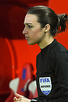 20200307  Valenciennes , France :4'th referee Maika Vanderstichel pictured during the female football game between the national teams of France and Brasil on the second matchday of the Tournoi de France 2020 , a prestigious friendly womensoccer tournament in Northern France , on Saturday 7 th March 2020 in Valenciennes , France . PHOTO SPORTPIX.BE | DIRK VUYLSTEKE