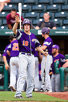 Johnny Day (16) of the Evansville Purple Aces catches a bat tossed to him during a game against the Missouri State Bears at Hammons Field on May 12, 2012 in Springfield, Missouri. (David Welker/Four Seam Images)