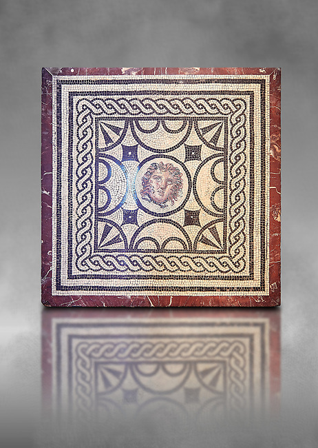 Roman Mosaic with the head of Medusa, from Casa delle Vestali, Pompeii , Naples National Archaeological Museum , grey art background