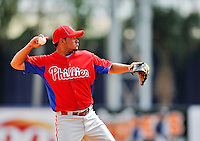 9 March 2012: Philadelphia Phillies infielder Freddy Galvis warms up prior to a Spring Training game against the Detroit Tigers at Joker Marchant Stadium in Lakeland, Florida. The Phillies defeated the Tigers 7-5 in Grapefruit League action. Mandatory Credit: Ed Wolfstein Photo