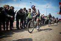 Zdenek Stybar (CZE/Etixx-QuickStep) coming through the Carrefour de l'Arbre sector, with Sir Bradley Wiggins (GBR/Sky) on his tail<br /> <br /> 113th Paris-Roubaix 2015