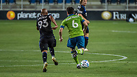 SAN JOSE, CA - OCTOBER 18: Judson #93 of the San Jose Earthquakes chases Joao Paulo #6 of the Seattle Sounders during a game between Seattle Sounders FC and San Jose Earthquakes at Earthquakes Stadium on October 18, 2020 in San Jose, California.