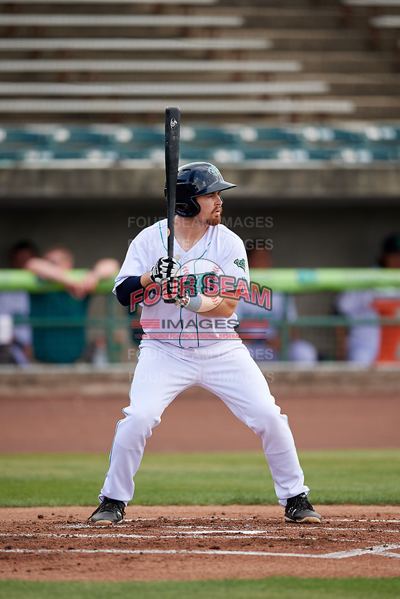 Lynchburg Hillcats second baseman Dillon Persinger (38) at bat during the first game of a doubleheader against the Potomac Nationals on June 9, 2018 at Calvin Falwell Field in Lynchburg, Virginia.  Lynchburg defeated Potomac 5-3.  (Mike Janes/Four Seam Images)