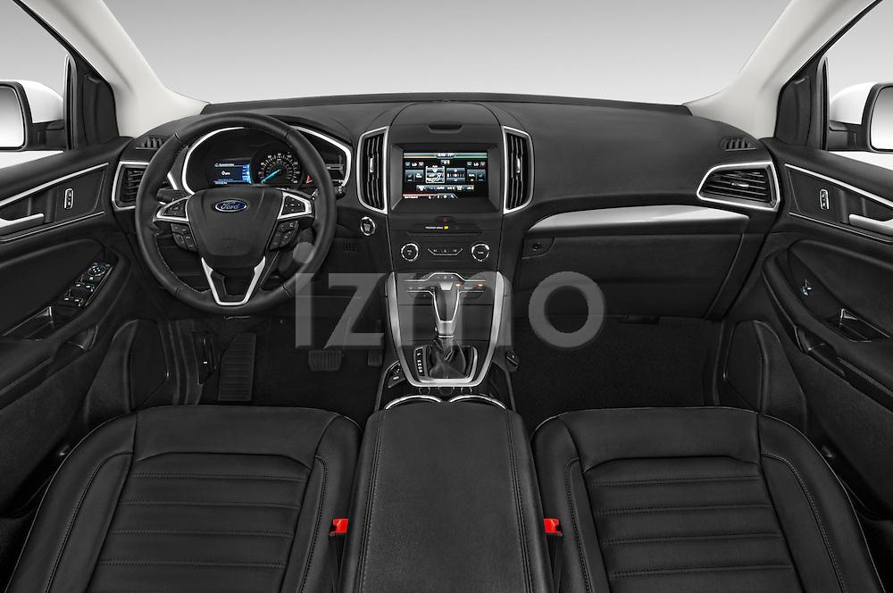 Stock photo of straight dashboard view of 2015 Ford Edge Titanium 5 Door SUV Dashboard