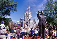 Walt Diseny statue and magical Kingdom, Orlando, FL, USA