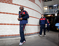 DaMarcus Beasley arrives for the match against the Netherlands. The USA men fell to the Netherlands 2-1 at Amsterdam ArenA, Wednesday, March 3, 2010.