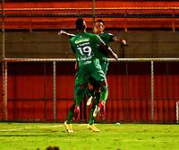 ENVIGADO - COLOMBIA, 06-11-2020: Walmer Pacheco de La Equidad celebra el gol anotado a Envigado F. C. durante partido entre Envigado F. C. y La Equidad de la fecha 18 por la Liga BetPlay  DIMAYOR 2020, en el estadio Polideportivo Sur de la ciudad de Envigado. / Walmer Pacheco of La Equidad celebrates the scored goal to Envigado F. C., during a match between Envigado F. C., and La Equidad of the 18th date  for the BetPlay DIMAYOR League 2020 at the Polideportivo Sur stadium in Envigado city. Photo: VizzorImage / Luis Benavides / Cont.