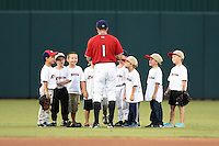 Fort Myers Miracle outfielder Zach Granite (1) with baseball campers on the field before a game against the Daytona Tortugas on June 18, 2015 at Hammond Stadium in Fort Myers, Florida.  Fort Myers defeated Daytona 4-1.  (Mike Janes/Four Seam Images)