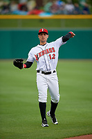 Indianapolis Indians center fielder Danny Ortiz (12) warms up before a game against the Toledo Mud Hens on May 2, 2017 at Victory Field in Indianapolis, Indiana.  Indianapolis defeated Toledo 9-2.  (Mike Janes/Four Seam Images)