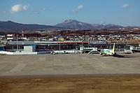 aerial photograph of the Hakodate airport, Hokkaido, Japan