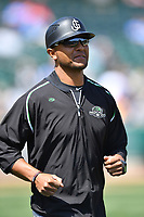 Jackson Generals coach Javier Colina (22) during a game against the Tennessee Smokies at Smokies Stadium on April 11, 2018 in Kodak, Tennessee. The Generals defeated the Smokies 6-4. (Tony Farlow/Four Seam Images)