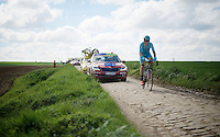 Something most have gone wrong for Lars Boom (NLD/Astana) as he is one of the last riders to hit sector 24: Saint-Python (1.5km)<br /> <br /> 114th Paris-Roubaix 2016