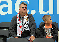 Pictured: Swansea supporters Sunday 30 August 2015<br /> Re: Premier League, Swansea v Manchester United at the Liberty Stadium, Swansea, UK