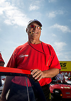 Sept. 1, 2013; Clermont, IN, USA: NHRA pro stock driver V. Gaines during qualifying for the US Nationals at Lucas Oil Raceway. Mandatory Credit: Mark J. Rebilas-