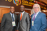 NEW YORK, NY - Sunday February 21, 2016: Members of the Haitin National team, including Head Coach Winfried Schafer arrive to the Copa America Centenario draw ceremony at the Hammerstein Ballroom in midtown Manhattan, New York City.