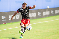 LAKE BUENA VISTA, FL - JULY 13: Julian Gressel #31 of DC United kicks the ball during a game between D.C. United and Toronto FC at Wide World of Sports on July 13, 2020 in Lake Buena Vista, Florida.