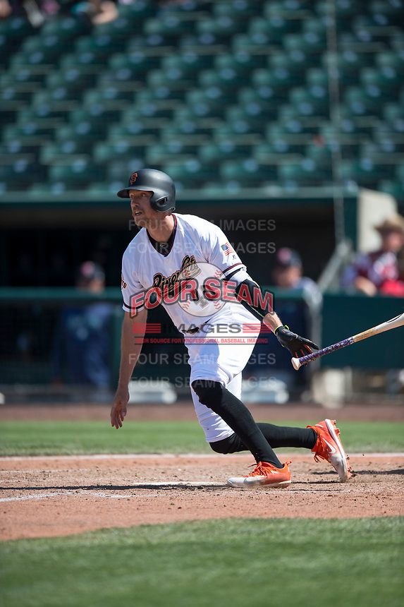 Sacramento RiverCats right fielder Hunter Pence (40) follows through on his swing on a rehab assignment during a Pacific Coast League against the Tacoma Rainiers at Raley Field on May 15, 2018 in Sacramento, California. Tacoma defeated Sacramento 8-5. (Zachary Lucy/Four Seam Images)