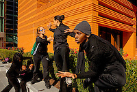Performance artists entertain visitors during the Wells Fargo Community Celebration, held October 29, 2011 in downtown Charlotte NC. The daylong festival took place in the streets, in public atriums and in downtown museums, which offered free admission all day long. Wells Fargo, which this month completed its conversion from Wachovia, picked up the bill.