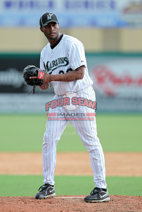 Pitcher Alfredo Buret #28 of the Florida Marlins instructional League team during a game against the Italian National Team at the Roger Dean Stadium in Jupiter, Florida;  September 27, 2011.  Italy is training in Florida for the Baseball World Cup.  (Mike Janes/Four Seam Images)