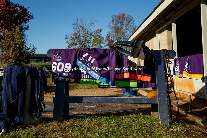 November 3, 2020: The saddle towels of the Chad Brown runners hanging to dry after track work at Keeneland Racetrack in Lexington, Kentucky on November 3, 2020. Alex Evers/Eclipse Sportswire/Breeders Cup