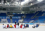 Sochi, RUSSIA - Mar 1 2014 -  Team Canada Sledge Team hits the ice for their first practice before the 2014 Paralympics in Sochi, Russia.  (Photo: Matthew Murnaghan/Canadian Paralympic Committee)