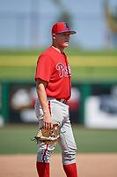 Philadelphia Phillies third baseman Nate Fassnacht (11) during an Instructional League game against the Toronto Blue Jays on September 17, 2019 at Spectrum Field in Clearwater, Florida.  (Mike Janes/Four Seam Images)
